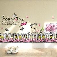 이동식 예술 비닐 꽃 diy 벽 스티커 데칼 벽화 홈 룸 장식 나비 심장 행복 나무 종이 벽화