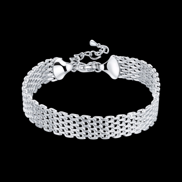 LEKANI Women's Fashion bracelet 925 sterling silver soft watchband charm bracelet & bangles fine jewelry Pulseiras de Prata 3