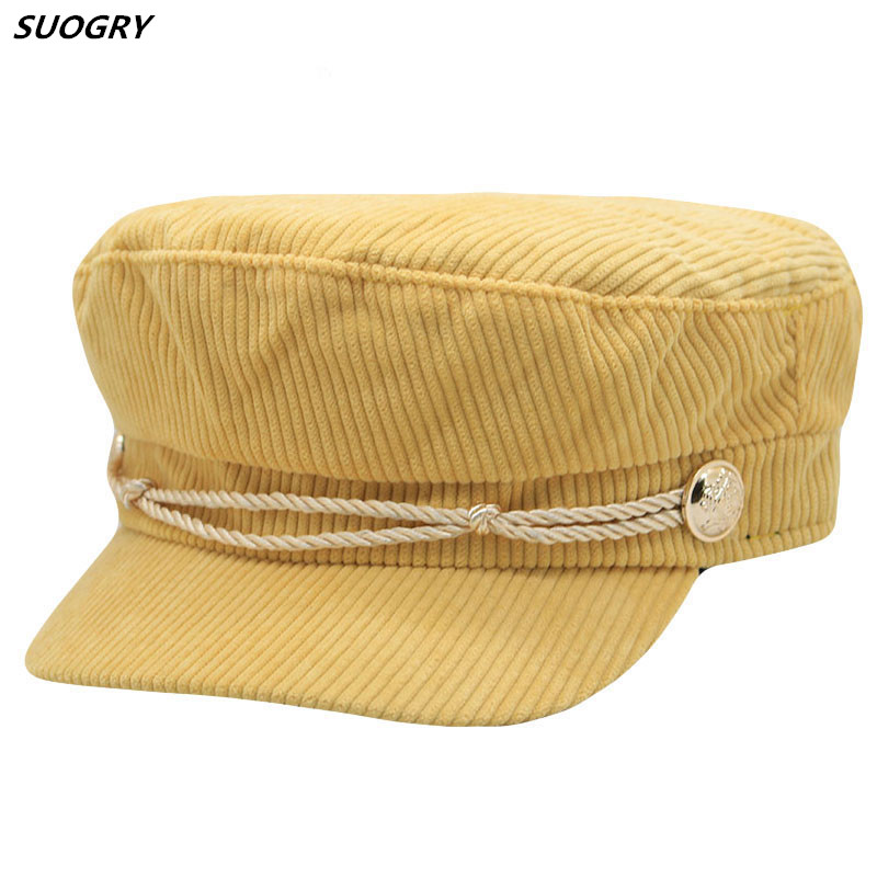 Winter cotton women Newsboy Hat Octagonal Cap For Fashion Women Beret Autumn Stripe Male Hat Corduroy Striped Flat Cap in Men 39 s Berets from Apparel Accessories