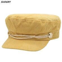 Winter cotton women Newsboy Hat Octagonal Cap For Fashion Women Beret Autumn Stripe Male Corduroy Striped Flat