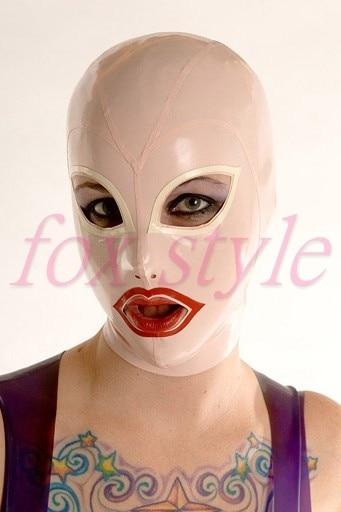 handmade latex baby pink mask sexy hood for adult
