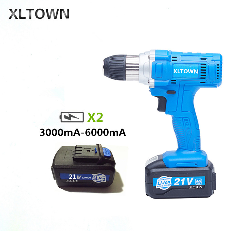 Xltown 21v high-speed drill rechargeable lithium battery variable speed electric screwdrivers with 2battery household power toolXltown 21v high-speed drill rechargeable lithium battery variable speed electric screwdrivers with 2battery household power tool
