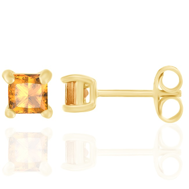 0.14 Ct Princess Cut Citrine 18K Yellow Gold Over Silver Childrens Stud Earrings все цены