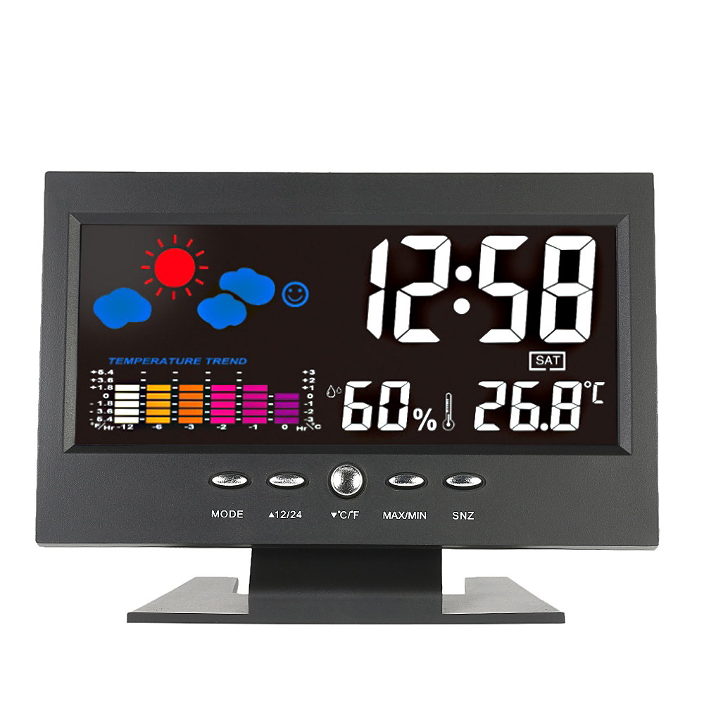 Digital Thermometer Hygrometer Temperature Humidity Meter Colorful LCD Weather Station Clock Calendar Vioce-activated Backlight