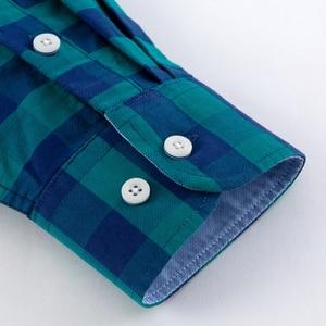 Image 5 - Camisa masculina de algodão xadrez casual, camisa de algodão oxford, com bolso único, manga comprida, gola com botão, gingham camisa com camisa