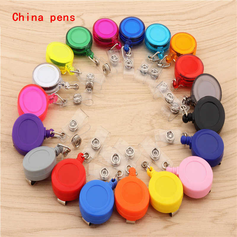 20 colors Retractable Pull Badge ID Lanyard Name Tag Card Badge Holder Reels Key Ring Chain Clips School student office