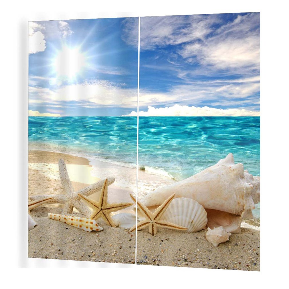 Sun-bathed Starfish Pattern Curtains Divider Nice Window Curtain 170*200 Romantic Curtains For Living Room