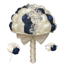 WIFELAI A חתונה כלה זר סט עם יהלומים חתן Boutonniere אחיות יד ורדים יד וזר פרחים השושבינות זר 2216 T