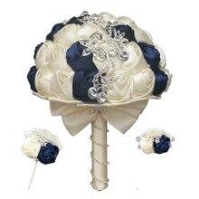 WIFELAI A da Sposa Bouquet da Sposa Set con Diamanti Sposo Fiore Allocchiello Sorelle Mano Rose Corsage Polso Damigelle Bouquet 2216 T
