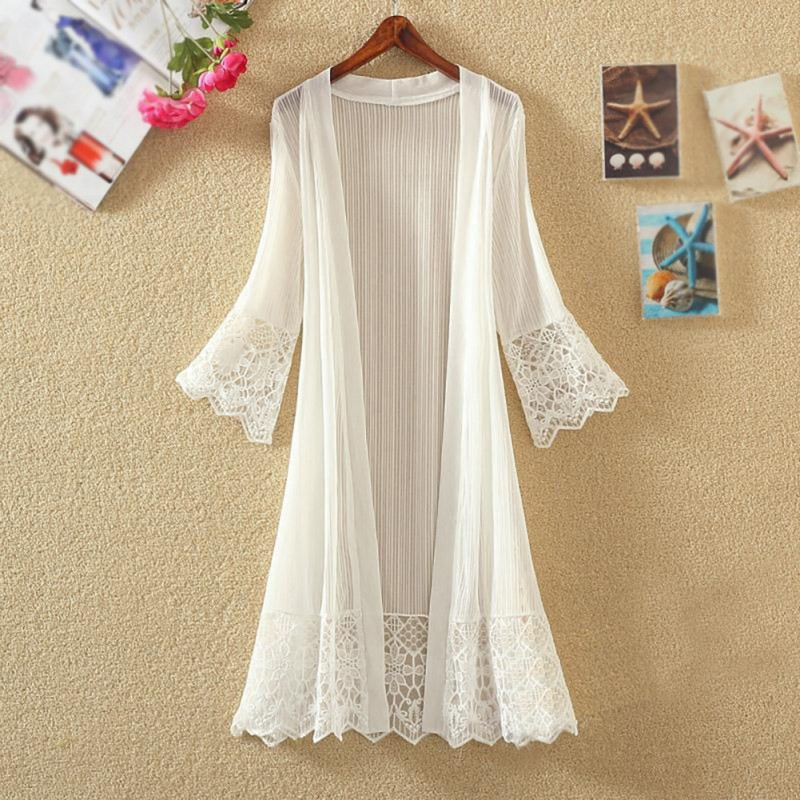 Women Sun Protection Chiffon Casual Lace Loose Clothing Summer Cardigan   Blouse     Shirt   Tops For Woman Sexy Covers Blusas