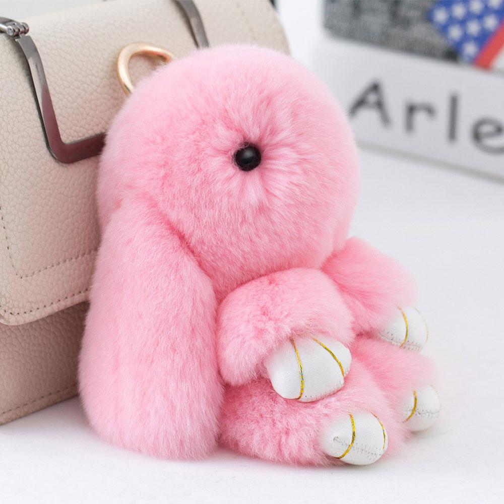 Cute Mini cartoon Genuine Rabbit Natural Furs Pom Pom Key Chain Women Trinket Rabbit Toy Doll