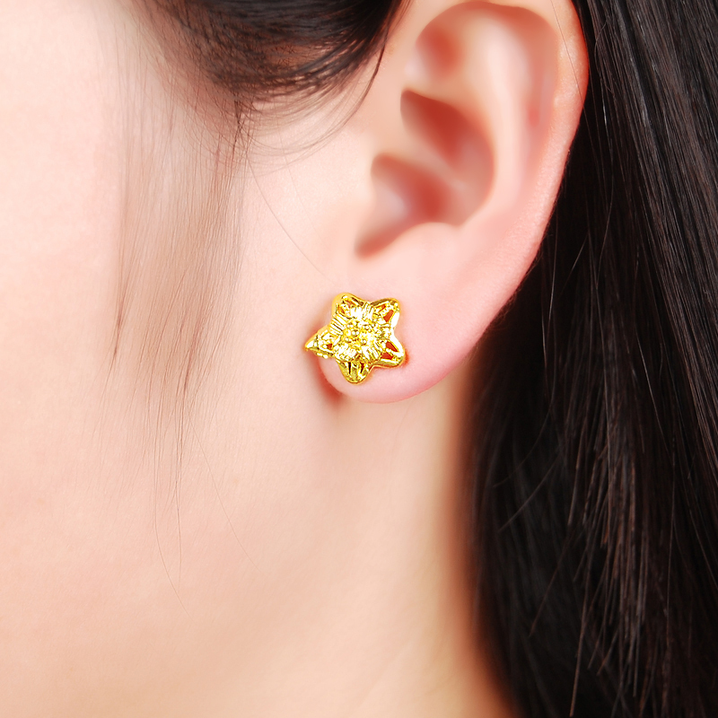 Magnificent Gold Earrings Tops Designs For Women Photos - Jewelry ...
