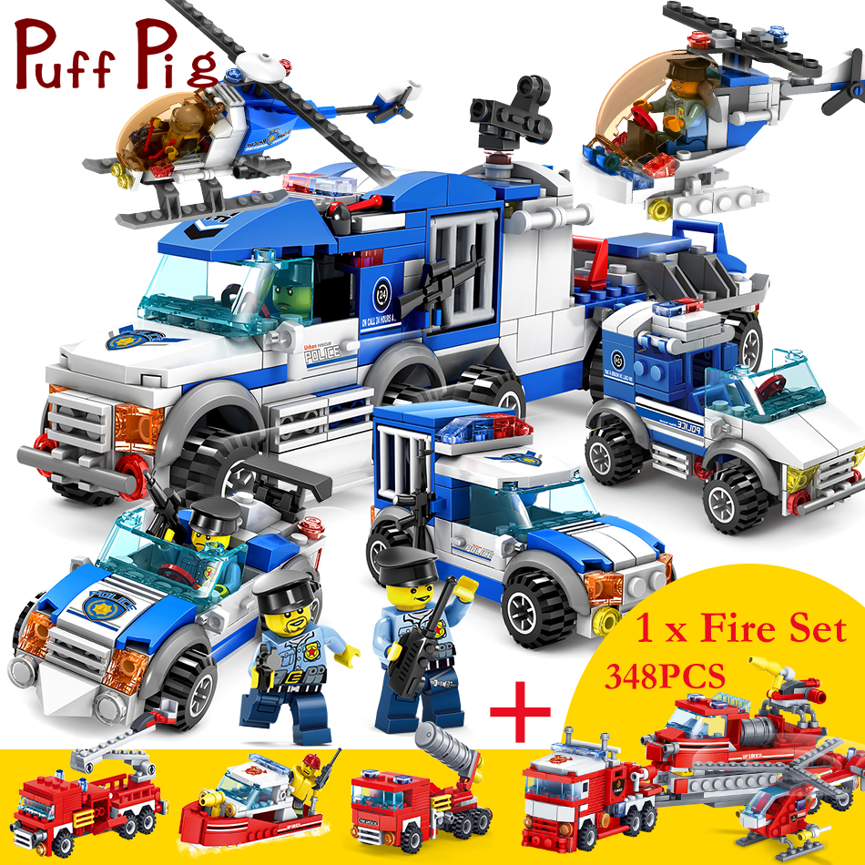 2 Sets/lot 4 in 1 Police Prison Fire Truck Helicopter Model Figures Compatible Legoed City Construction Building Blocks Toys 2 sets lot