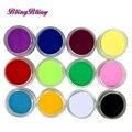 12 Unids Acrílico Polvo Nail Art Mix Colores de Acrílico Del Polvo Del Polvo Decoración o Gel Esmalte de Uñas Diseño de Uñas de Manicura DIY decoración