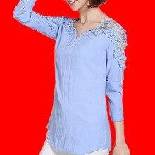 bc94b52f9a Nowych kobiet bluzka Femininas 2018 koszula z długim rękawem bluzka kobiety  dekolt Floral Lace Sexy Casual lniane koszule Plus r.