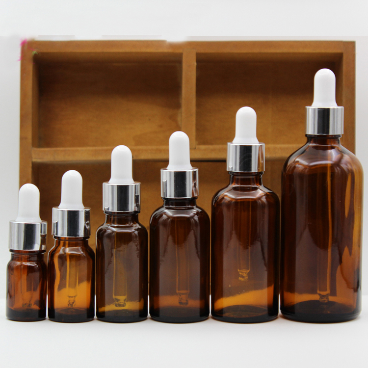 5ml,10ml,15ml,20ml,30ml,50ml,100ml Amber Glass bottles With Dropper,Empty Essential Oil Glass Vials Silver Collar White rubber 5ml 10ml 15ml 20ml 30ml 50ml 100ml diy black glass empty essential oil bottle high grade glass empty liquid dropper bottle