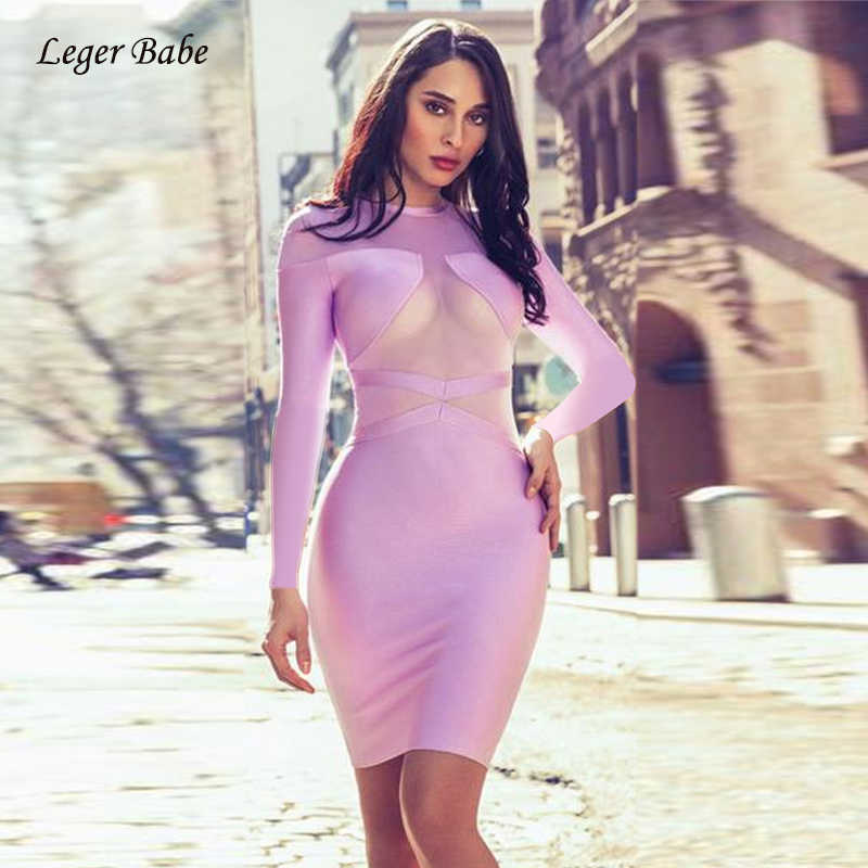 В наличии Розовый Фиолетовый модный длинный рукав с круглым вырезом сетка лоскутное трикотажное Elestic бандаж знаменитости для вечеринок платье 2018 Осень Женщины