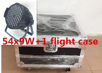 4 stücke 54x9 W + Flug caso luce par del LED rgb 3in1 led par luce DMX etapa luces