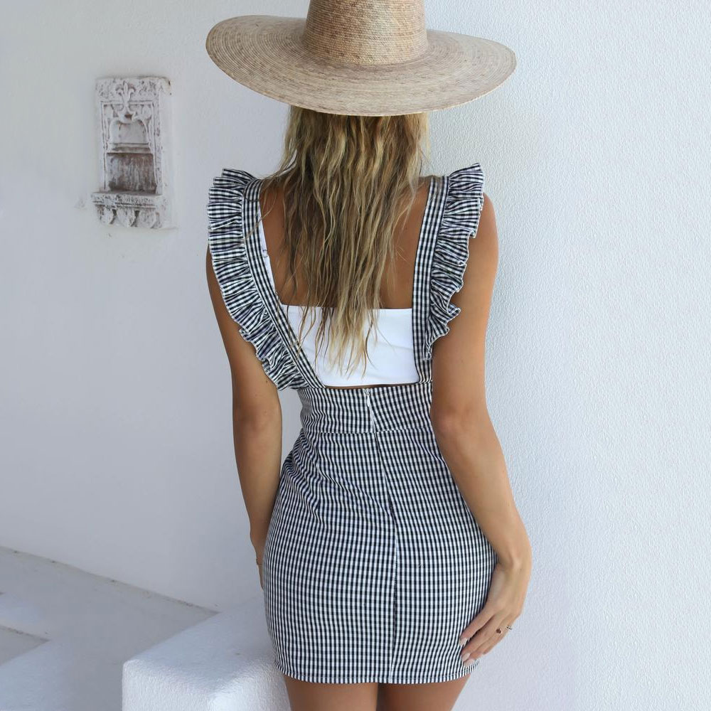 Women's Clothing Summer Women Straps Pinafore Dress Slim