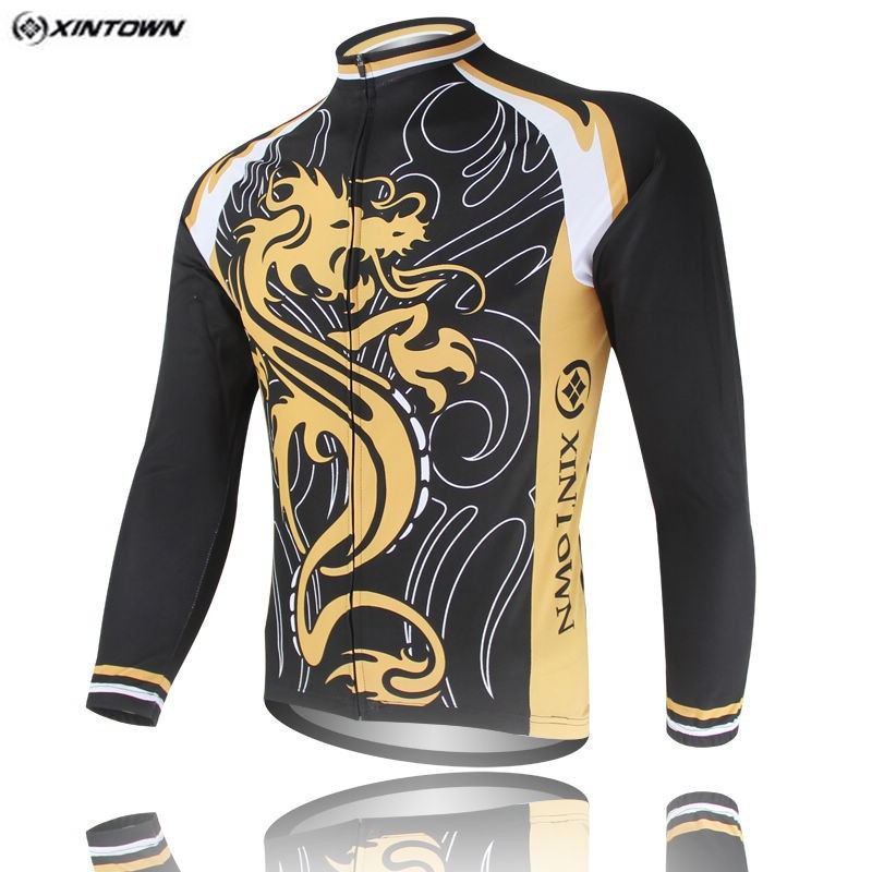 Popular XINTOWN Dragon Bike Long jersey Black MTB Team Cycling clothing Riding Bicycle Top Wear Men Maillot Long Sleeve
