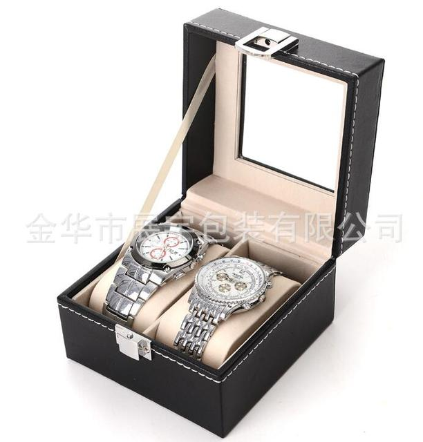 Watch Box Small 2 Mens Black Leather Display Glass Top Jewelry Case