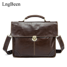 Lngbeen Genuine Leather Coffee Men Briefcase Laptop Business Bag Cowhide Men's Messenger Bags Luxury Lawyer Handbags LB7091