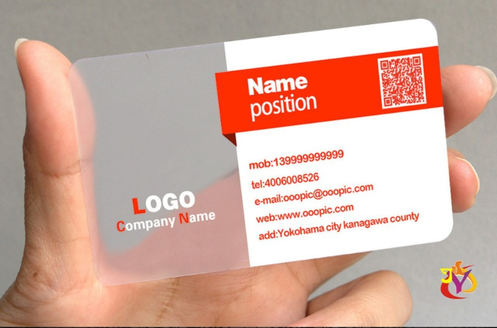 transparent business card PVC semi clear translucent see