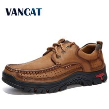 2019  New High Quality Mens shoes 100% Genuine Leather Casual Shoes Waterproof  Work Shoes Cow Leather Loafers Plus Size 38 48