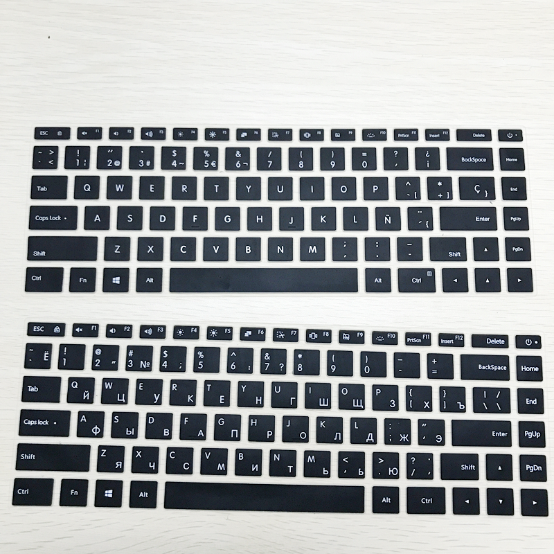Russian Keyboard Stickers Silicone Spanish Keyboard Cover for <font><b>Xiaomi</b></font> <font><b>Mi</b></font> <font><b>Notebook</b></font> Air 12.5 13.3 <font><b>Pro</b></font> <font><b>15.6</b></font> Skins Protector Film image