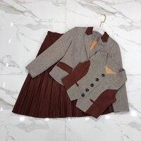 Комплект из 3 предметов, Женский блейзер, куртки, жилет, плиссированная юбка, Европейская мода, тонкая верхняя одежда, OL Lady наряды, топы с длин