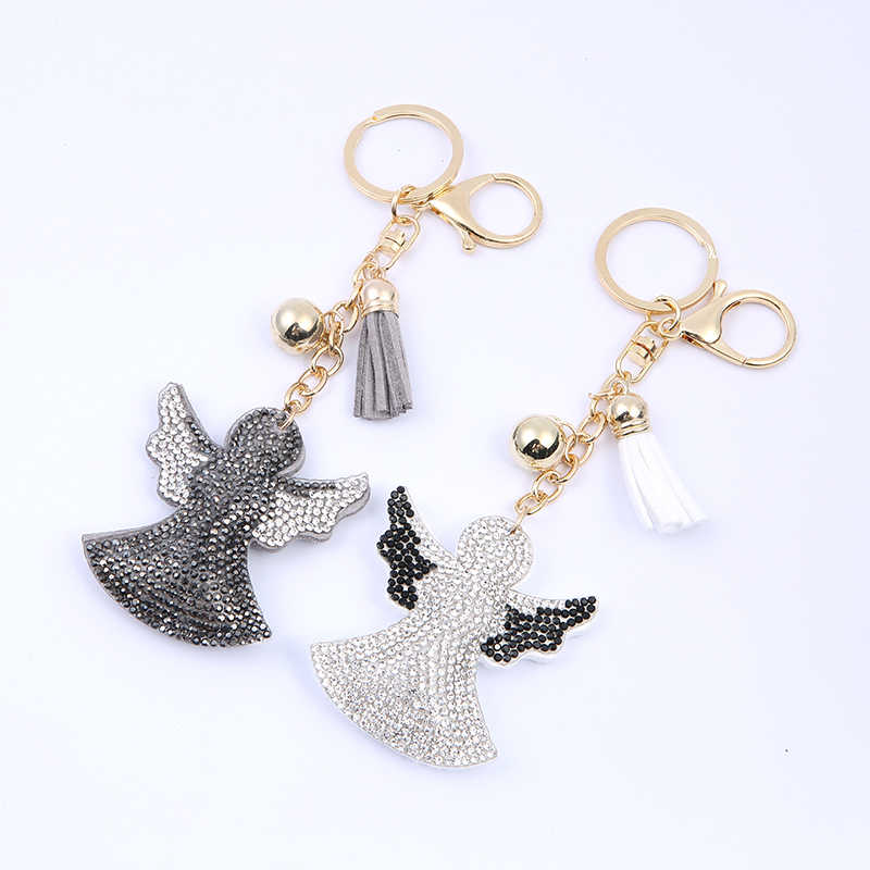 Latest Charms Angel Guardian Angel Crystal Rhinestone Leather Keychain  Handbag Men Women Car Llaveros Brelok Pendant 0e9d9bedc