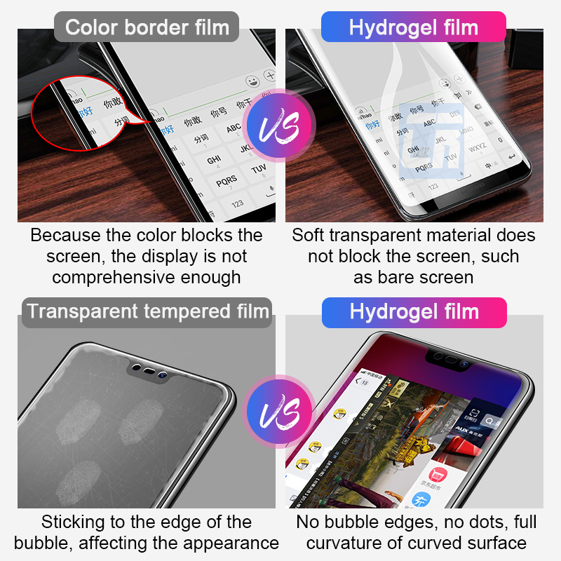 10D Soft Hydrogel Protective Film For Huawei P30 Lite P20 Pro Nova 4e Y9 2019 Screen Protector for Honor 8C 8X Max 10 Lite Film in Phone Screen Protectors from Cellphones Telecommunications