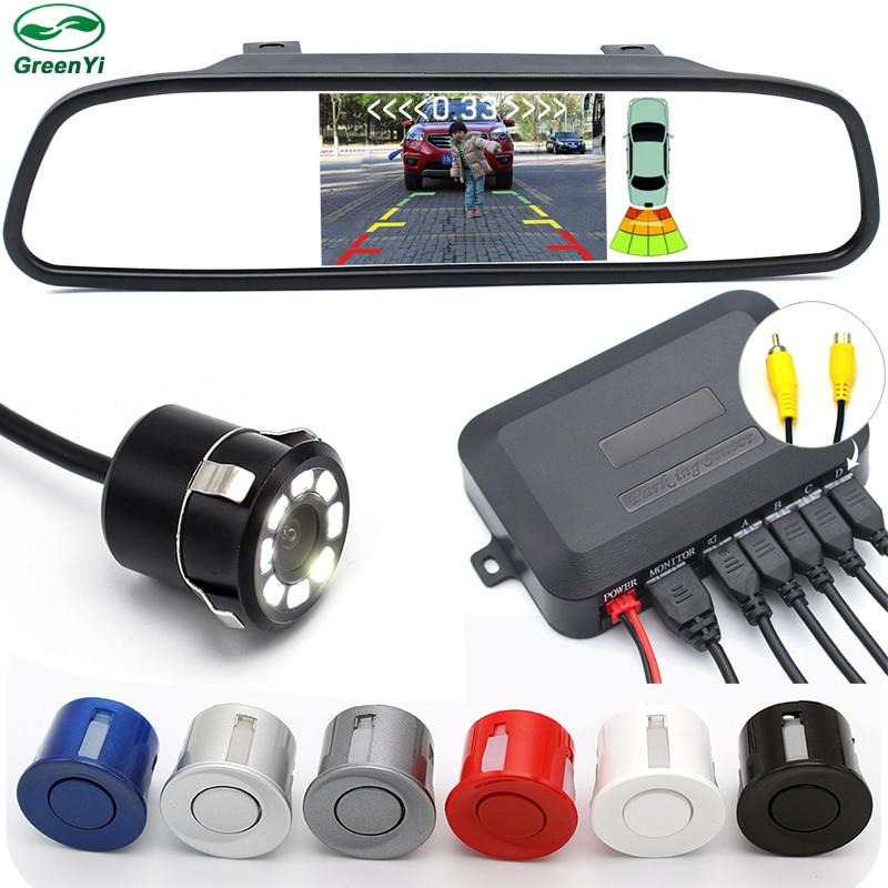 """3in1 駐車場支援、 4.3 """"TFT ミラーモニターリアビューカメラとビデオ駐車センサー  グループ上の 自動車 &バイク からの パーキングセンサー の中 1"""