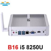최신 Kaby Lake R 8 세대 쿼드 코어 팬리스 미니 PC 승 10 인텔 코어 i5 8250U UHD 그래픽 620 Wifi HDMI 미니 컴퓨터 DDR4