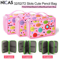 NICAS Kawaii Cute Pencil Case Kids 2 3 4 Layers High Capacity Estojo Escolar School Pencil