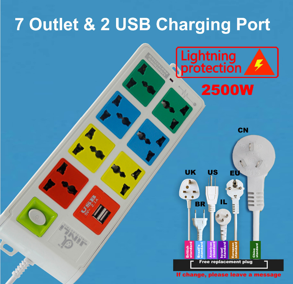 7 Outlet Socket Universal Power Strip And 2 Usb Charger Ports Electrical Diagram Uk With Eu Us Type In Sockets From Home Improvement On