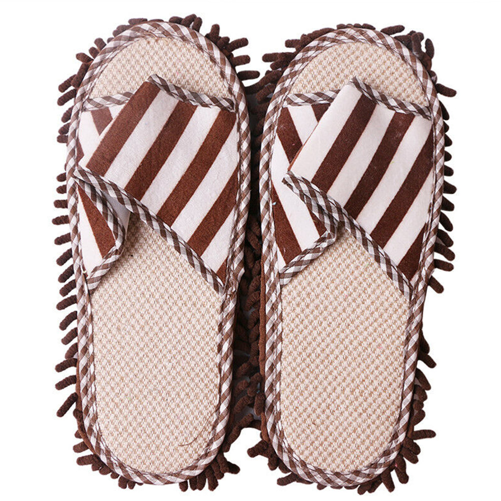Striped Cleaning Mop Slippers Dusting Polishing Foot Shoes Lazy Home Washable Floor Quick Chenille Unisex Coral FleeceStriped Cleaning Mop Slippers Dusting Polishing Foot Shoes Lazy Home Washable Floor Quick Chenille Unisex Coral Fleece