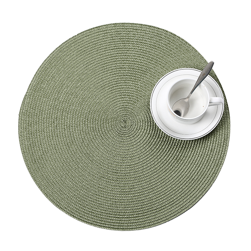 Купить с кэшбэком 4Pcs/lot round weave Placemat fashion PP dining table mat disc pads bowl pad coasters waterproof table cloth pad 38cm diameter