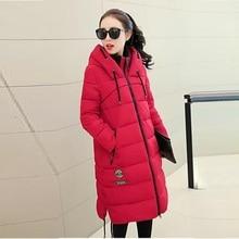 2015 новый! Зимняя куртка женщин длинный тонкий пуховик с капюшоном толстые теплые непромокаемые верхняя одежда зимнее пальто женщин Большой размер одежды