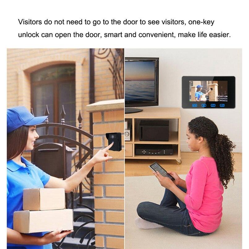 Купить с кэшбэком Saful 7 Inch TFT LCD wired video door phone door intercom Night Vision Waterproof Camera Monitor Doorbell Intercom Smart home
