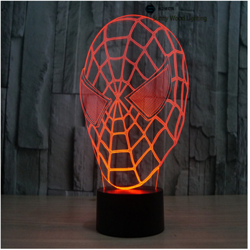 SpiderMan touch LED 3D lamp,Visual Illusion 7color changing 5V USB for laptop,Christmas cartoon toy lamp
