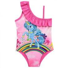 Girls Swimsuit One Piece 2-10 Years Children's Swimwear Unicorn Baby Girls Swim Bathing Suit Summer Beachwear CZ893