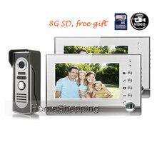 Best price FREE SHIPPING NEW 7″ TFT LCD Record Screen Video Intercom Door phone Kit 2 Screens + Waterproof Night Vision Door Camera + 8G SD