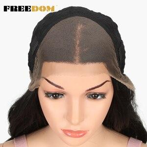 Image 5 - Pelucas sintéticas delanteras de encaje de separación libre 360 peluca Frontal de encaje pelucas rubias de cola de caballo de Color Ombre para mujeres negras pelo supremo
