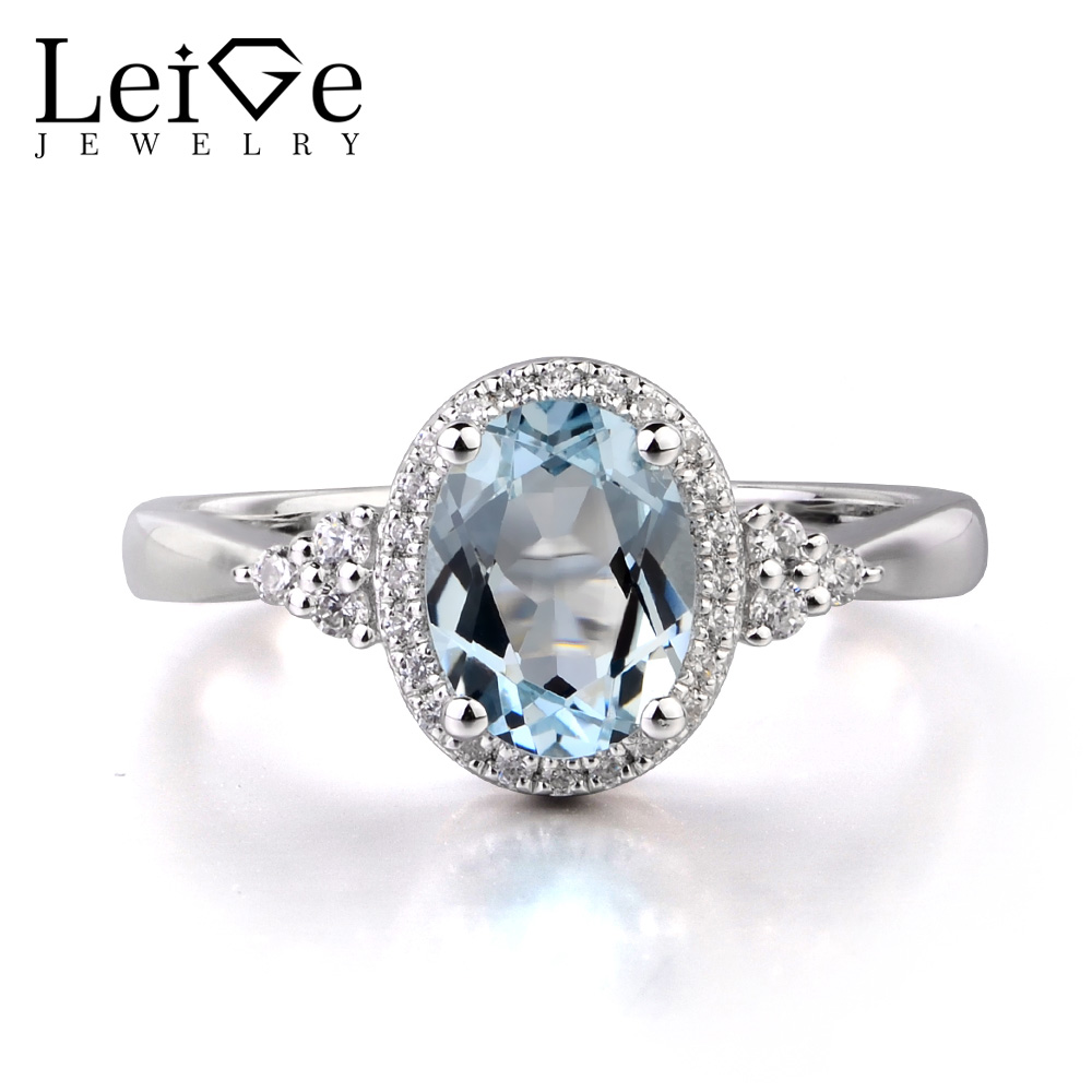 Leige Jewelry Natural Genuine Aquamarine 925 Sterling Silver Ring Gemstone Oval Cut Engagement Ring Jewelry Gifts for Women