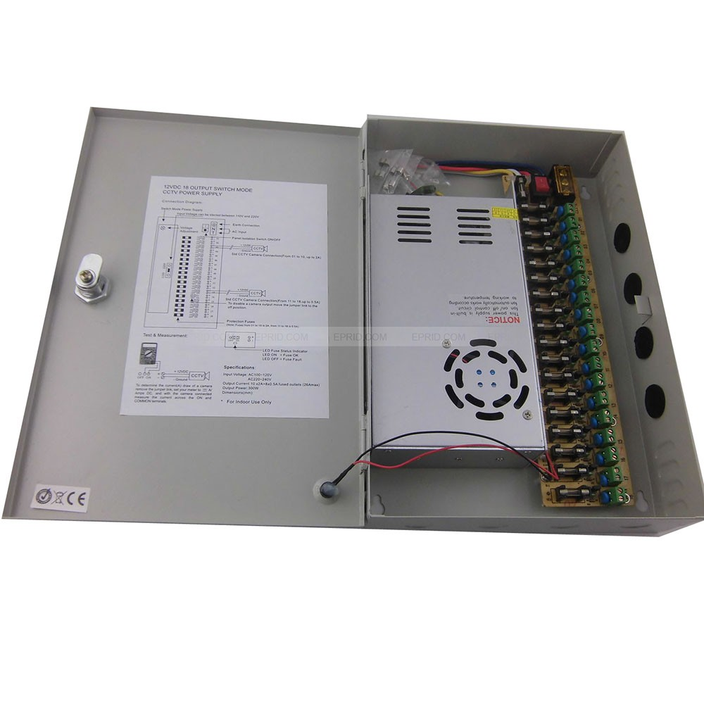 ФОТО 2PCS 18CH DC 12V 30A Output Power Supply Switch Box for CCTV Camera