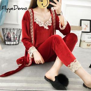 Image 2 - 5XL Marka Sonbahar Kadın Üç Adet Pijama Setleri Kadife Dantel Patchwork Çiçek Kadife Yüksek Kaliteli Gecelikler Bornoz Artı Boyutu