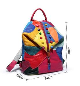 Image 3 - Brand new retro Genuine Leather Backpack Sheepskin lady Backpack Designer Travel Colorful Patchwork Luxury Shopper Bag Mochila