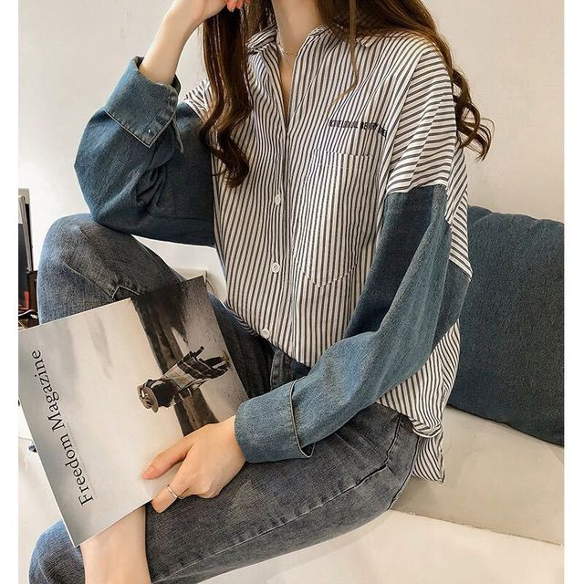 stripe long-sleeve shirt for women autumn new Hong Kong style loose casual shirt plus size women clothing 1