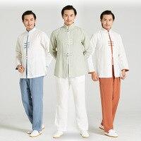 Китайский Стиль Для мужчин ручной работы и пуговицы Хан фу костюм свободные одноцветное белье тай чи кунг фу набор Повседневное мандарин ру